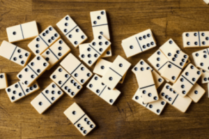 game setup for Double 12 dominoes